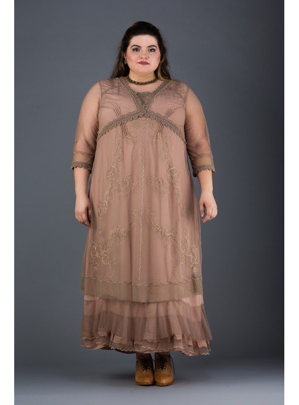 Plus SIze Vintage Style Party Gown in Sand by Nataya