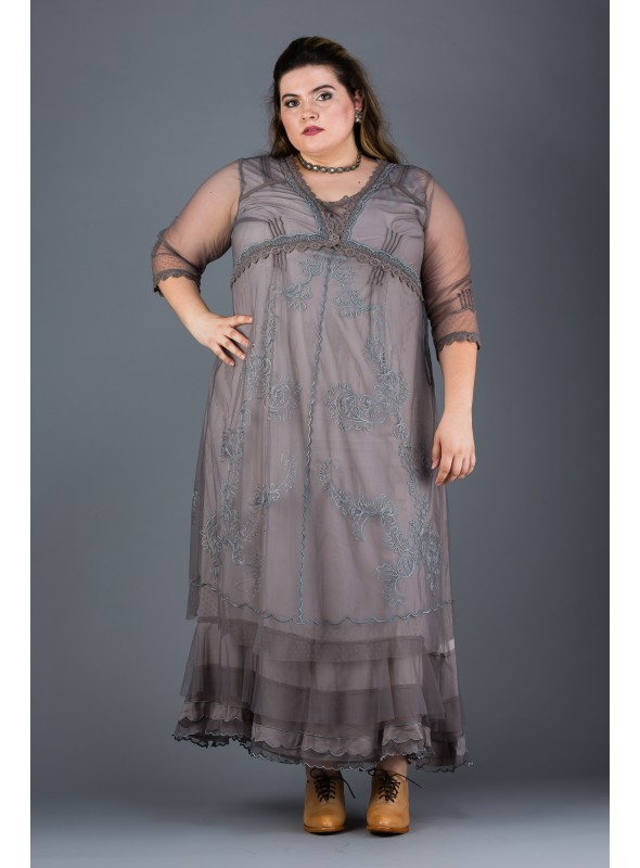 Plus SIze Vintage Style Party Gown in Smoke by Nataya