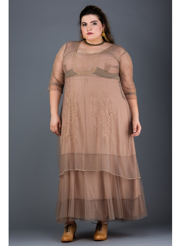 Plus Size Victoria Vintage Style Party Gown in Sand by Nataya