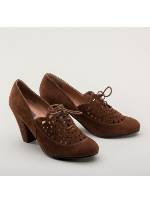Alice Retro Cutout Oxfords in Nutmeg by Royal Vintage Shoes
