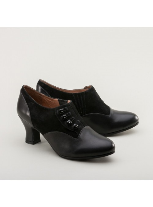 Greta Retro Side-Button Shoes in Black by Royal Vintage Shoes