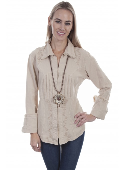 Maine Blouse in Khaki by Scully Leather