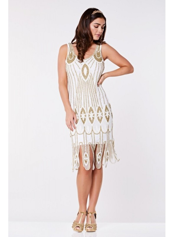 Art Deco Flapper Dress in White Gold