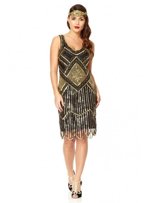 1920s Beaded Flapper Dress in Black Gold