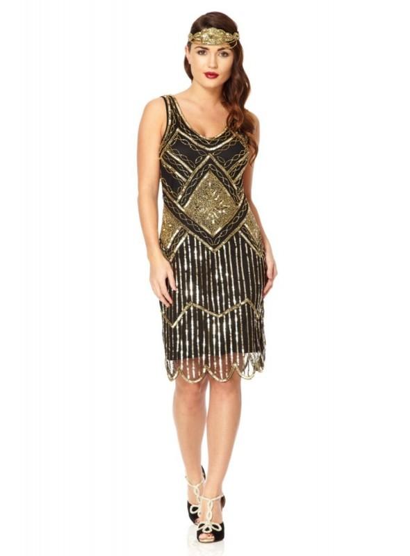 1920s Beaded Flapper Dress in Black Gold