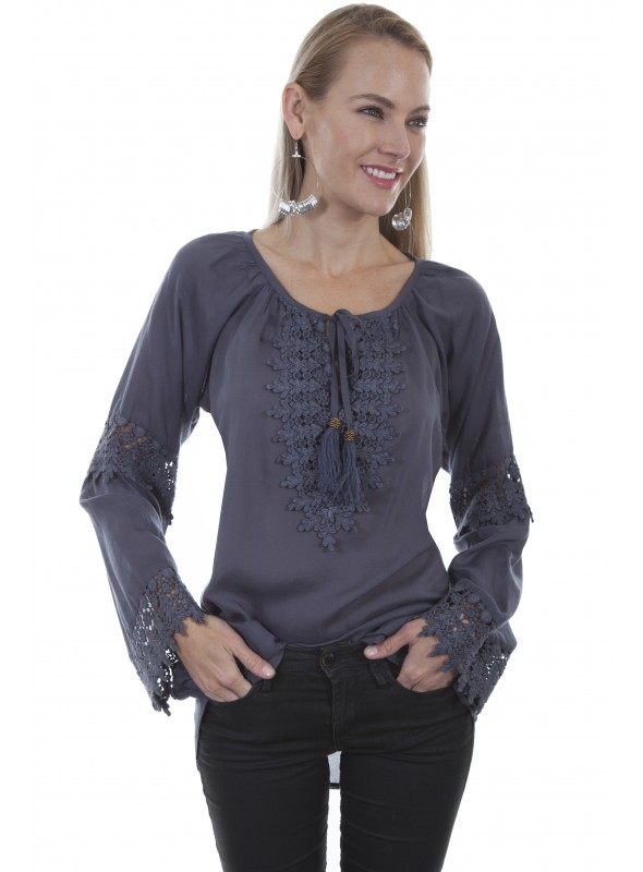 Lennox Blouse in Blue by Scully Leather