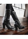 Ariana Victorian Inspired Mid-Calf Leather Boots in Black Rustic by Oak Tree Farms