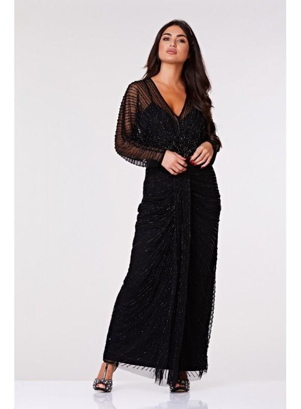 Inez 1920s Inspired Gown in Black