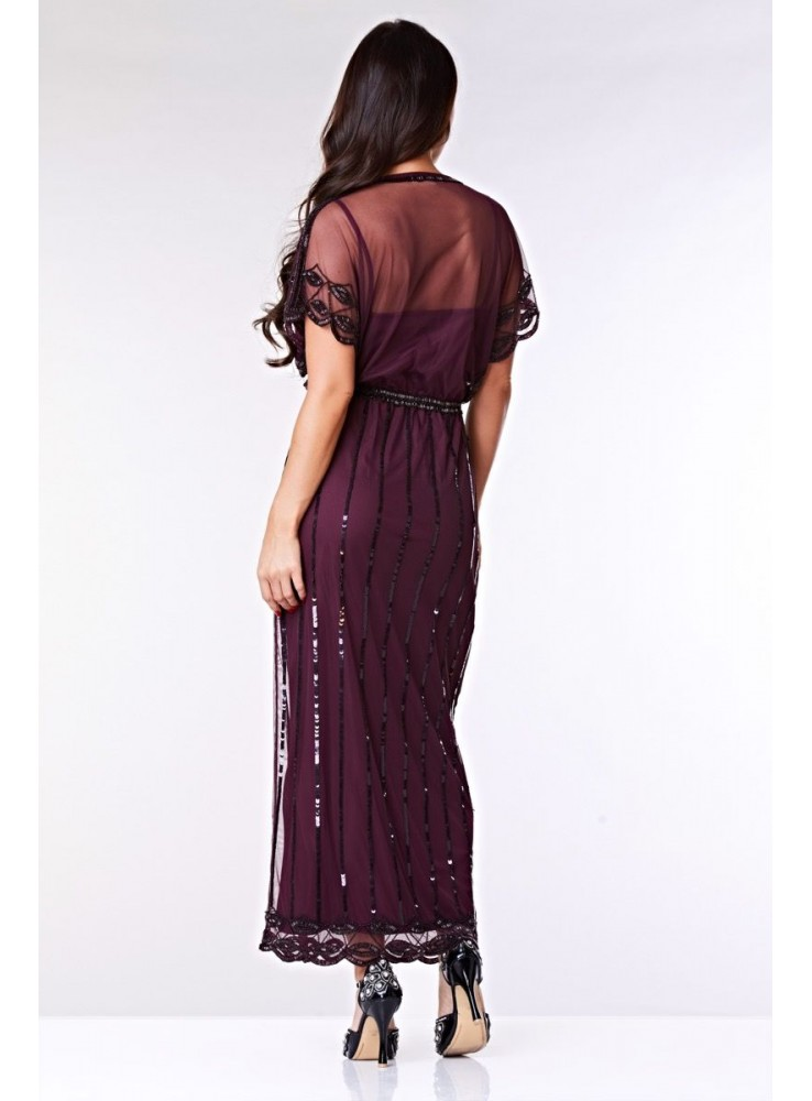 Gatsby Style Maxi Dress In Plum