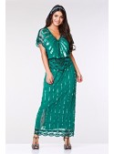 Gatsby Style Maxi Dress in Teal