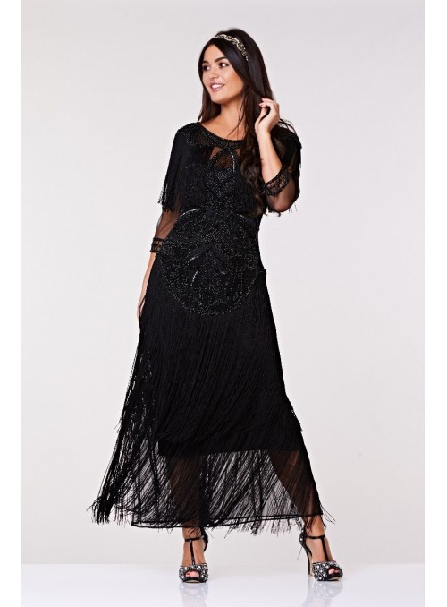 410a1b24c80 1920s Inspired Evening Maxi Dress in Black