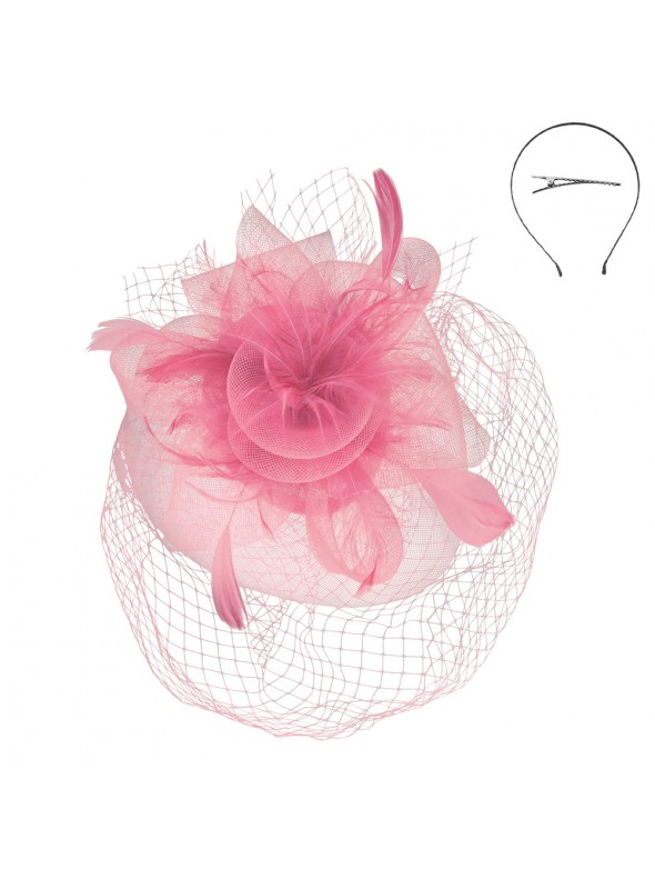 1920s Veil Fascinator in Pink