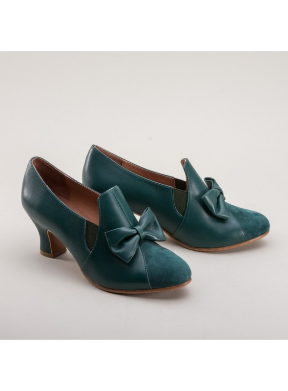 Maria Retro Bow Pumps in Green by Royal Vintage Shoes