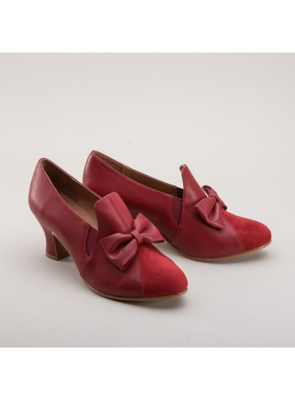 Maria Retro Bow Pumps in Red by Royal Vintage Shoes