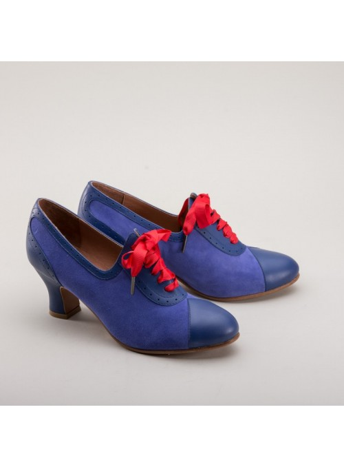 Poppy Retro Oxfords in Blue by Royal Vintage Shoes