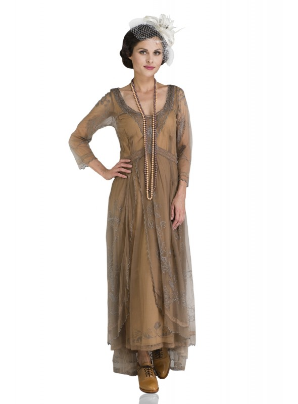 Downton Abbey Tea Party Gown in Antique Silver by Nataya