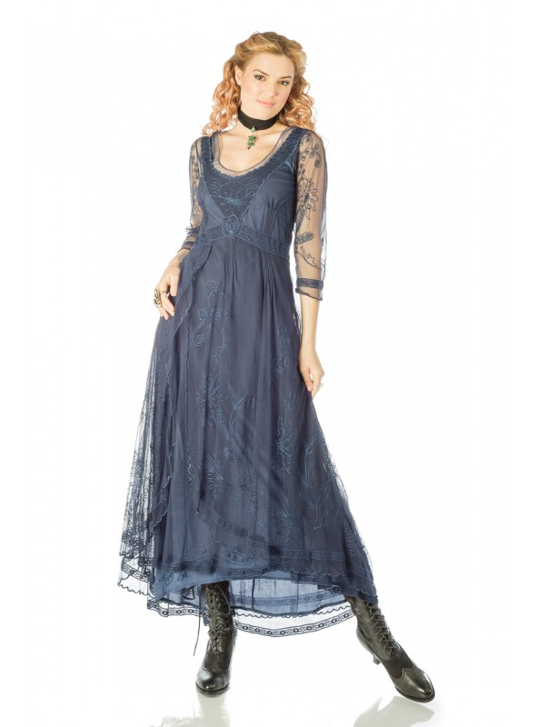 Downton Abbey Tea Party Gown in Royal Blue by Nataya