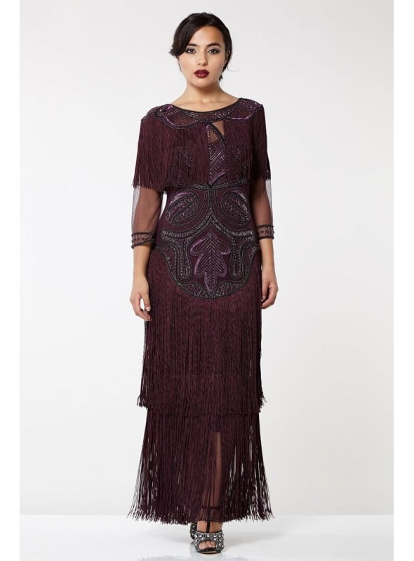 1920s Inspired Evening Maxi Dress in Plum