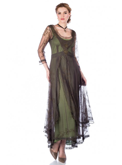 Rita 1940s Dress in Green Taffeta by The Seamstress Of Bloomsbury