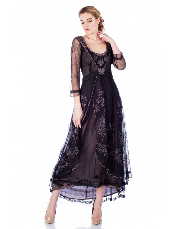 40163 Downton Abbey Tea Party Gown in Black/Coco by Nataya