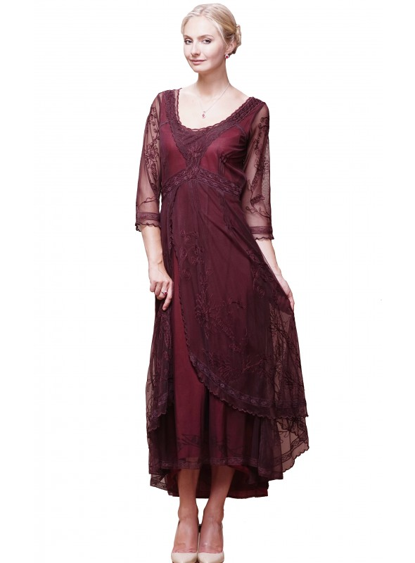 40163 Downton Abbey Tea Party Gown in Ruby by Nataya