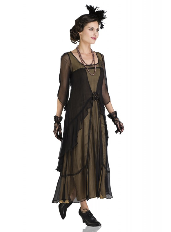 10709 Great Gatsby Party Dress in Black Gold by Nataya