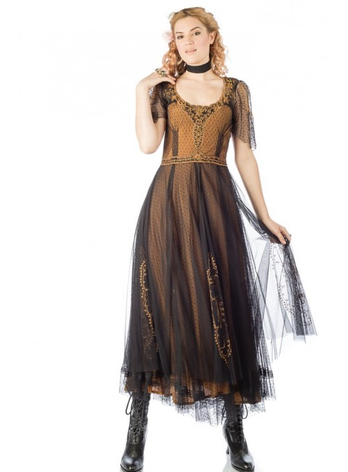 Alice Vintage Style Dress in Black/Gold by Nataya