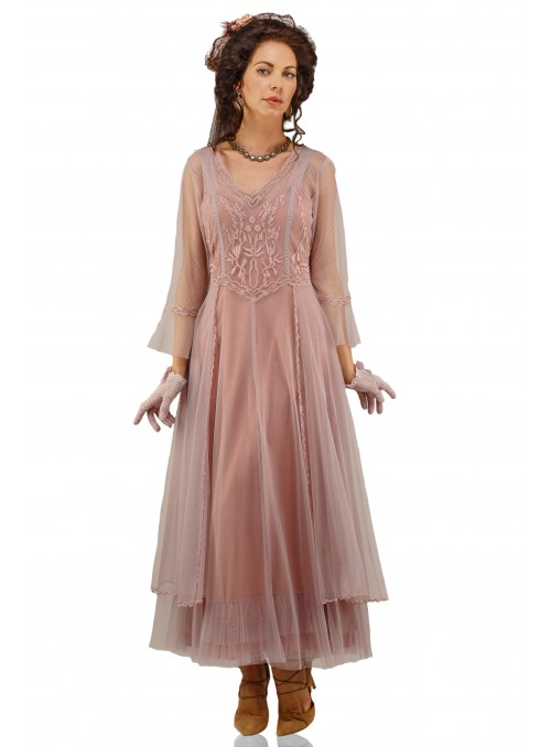 Vivian CL-075 Vintage Style Wedding Gown in Mauve by Nataya