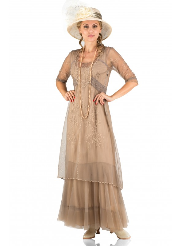 Victoria Vintage Style Party Gown in Sand by Nataya