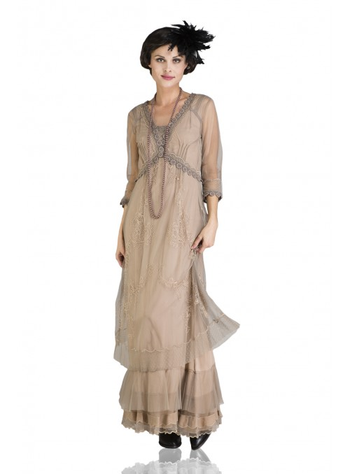 Audrey Vintage Style Party Gown in Sand by Nataya