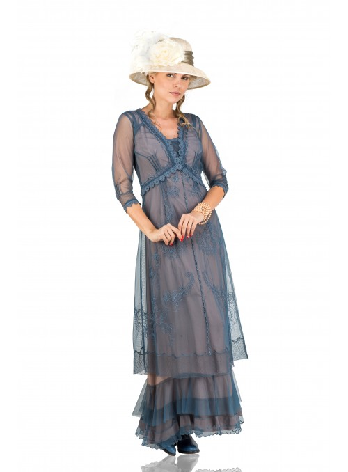 Audrey Vintage Style Party Gown in Azure by Nataya