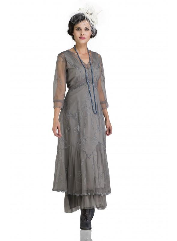 1940s Kelsie Velvet Wrap Dress in Navy