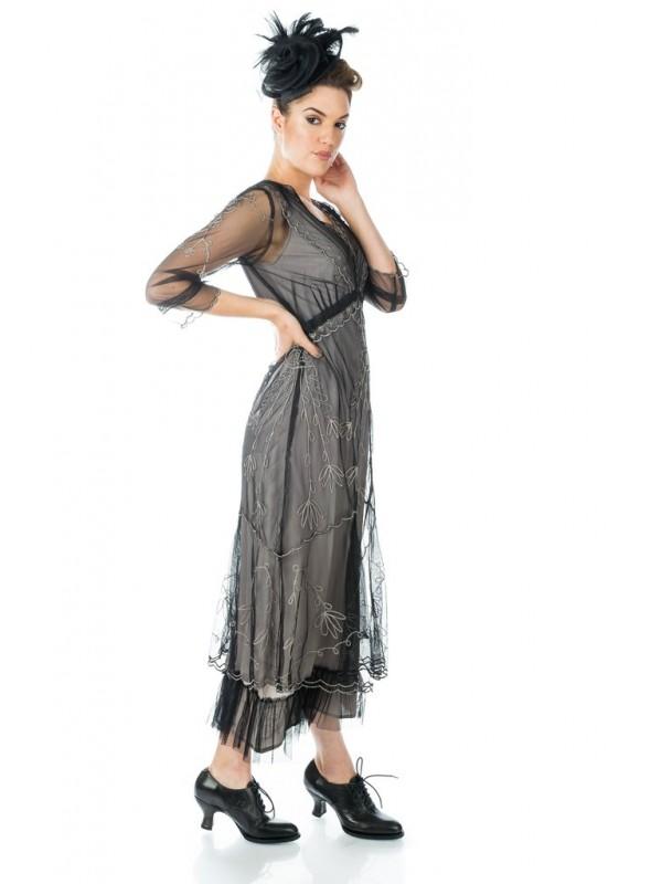 Art Deco Fringe Party Dress in Grey Silver