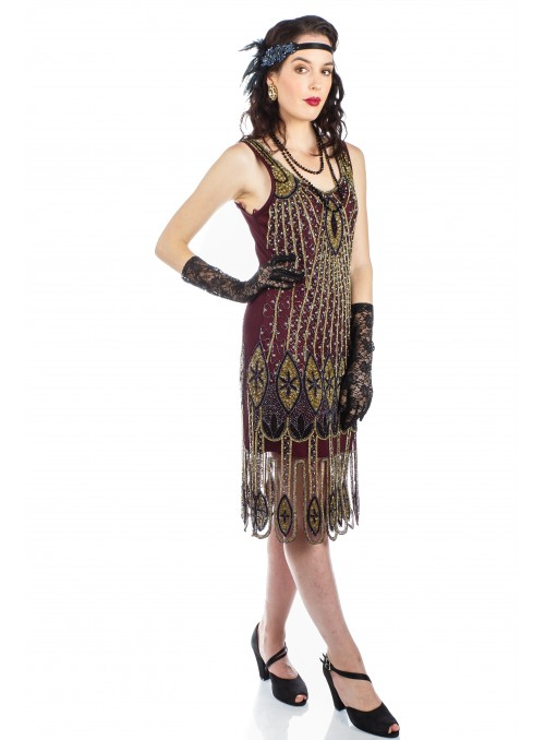 Flapper Style Fringe Party Dress in Antique Gold