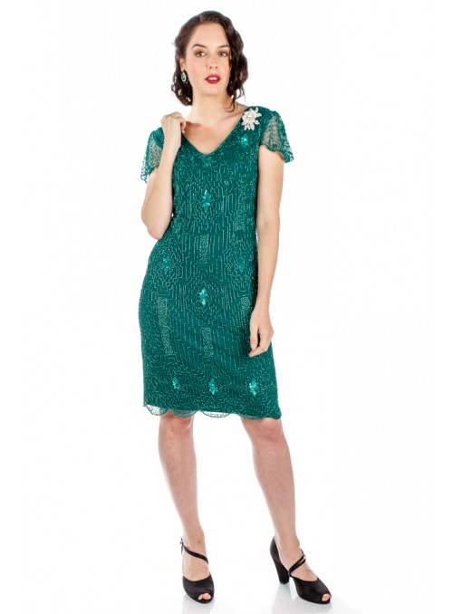 1920 Style Beaded Dress in Teal