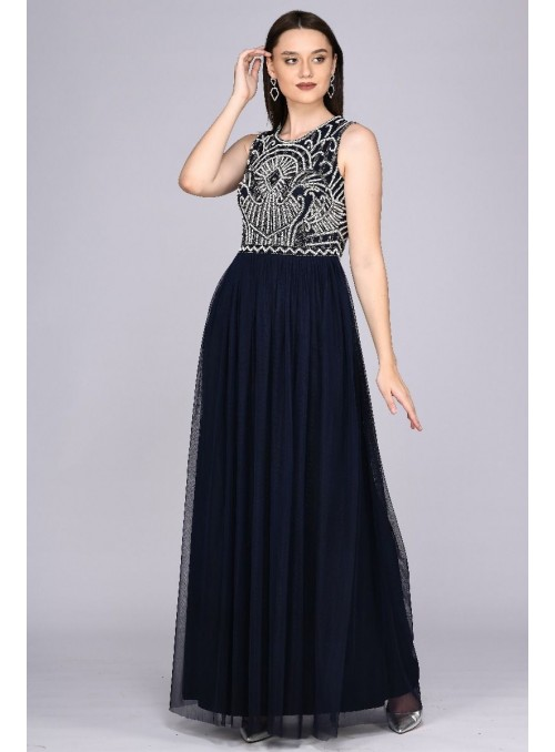 Angie Gatsby Style Maxi Dress in Navy Blue