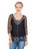 Victorian Vintage Inspired Top in Black by Nataya