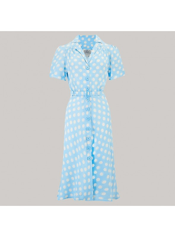 Carole 1940s Dress in Sky Blue Moonshine