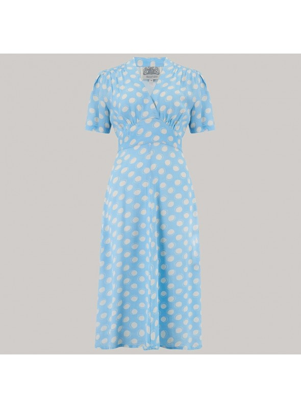 Crawford 1940s Dress in Sky Blue Moonshine