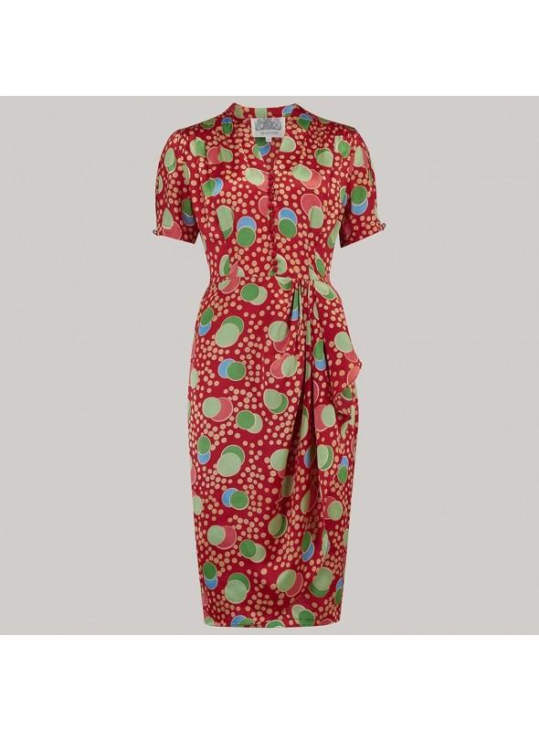Claudette 1940s Dress in Atomic Print