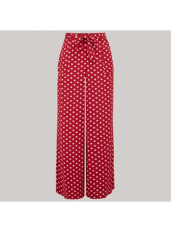 Gretta 1940s Trousers in Red Polka Dots
