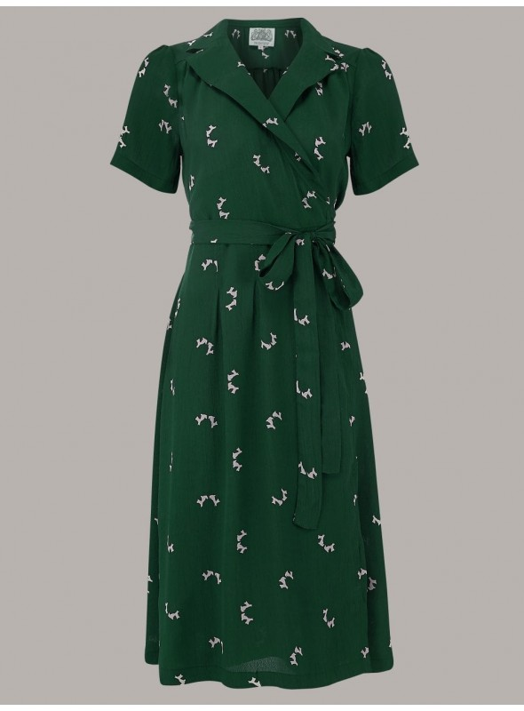 Rita 1940s Dress in Green Doggy