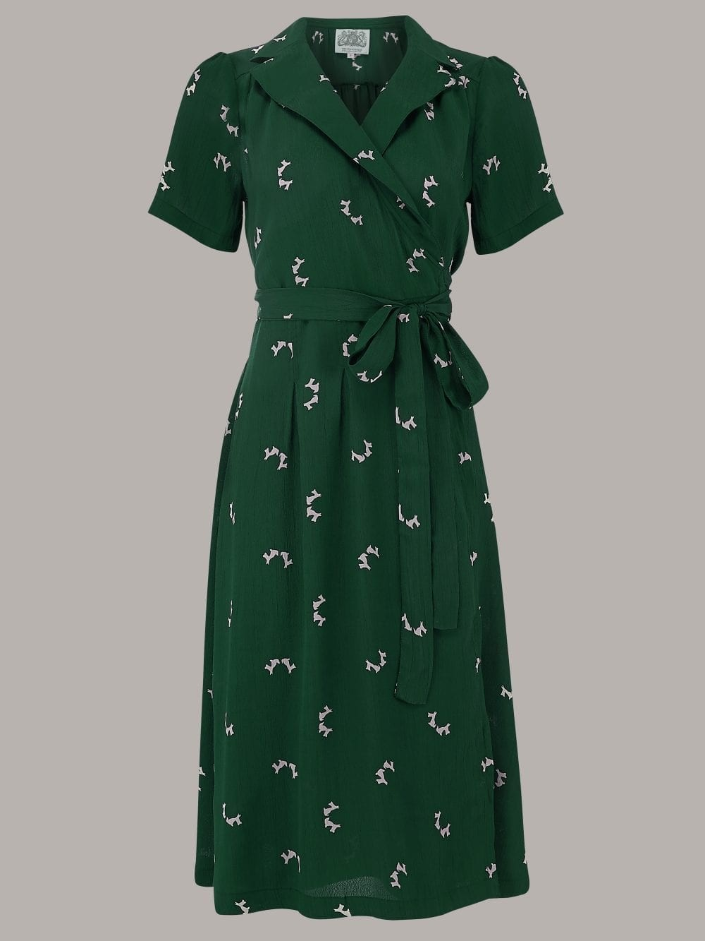 The Essential 1940s Style Blouse Vintage Frills: Rita 1940s Dress In Green Doggy