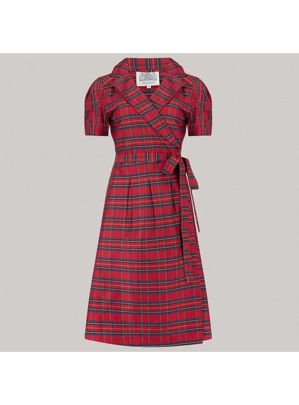 Rita 1940s Dress in Red Taffeta