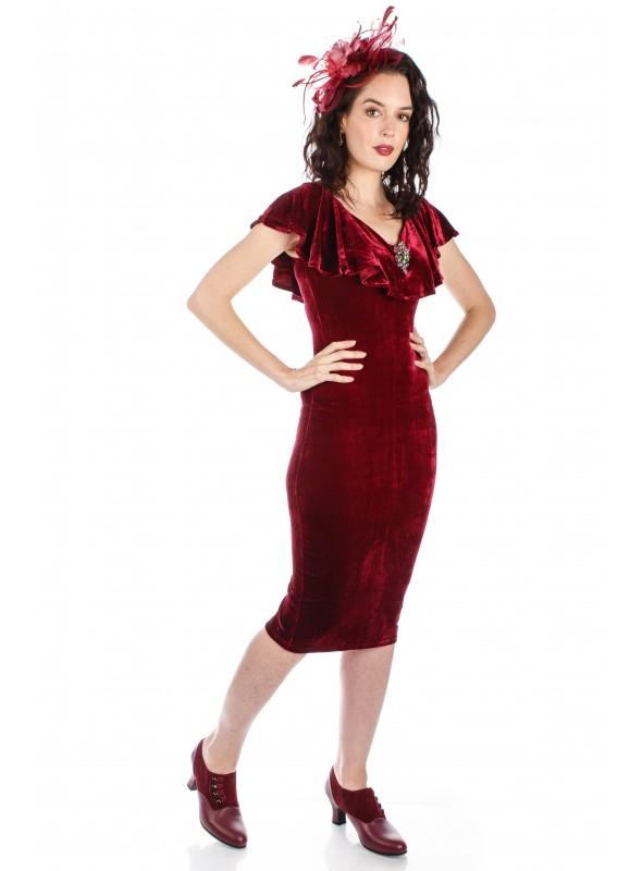 1950s Quinn Ruffled Velvet Wiggle Dress in Burgundy