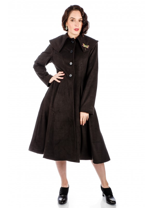 1950s Style Collar Button Up Coat in Black