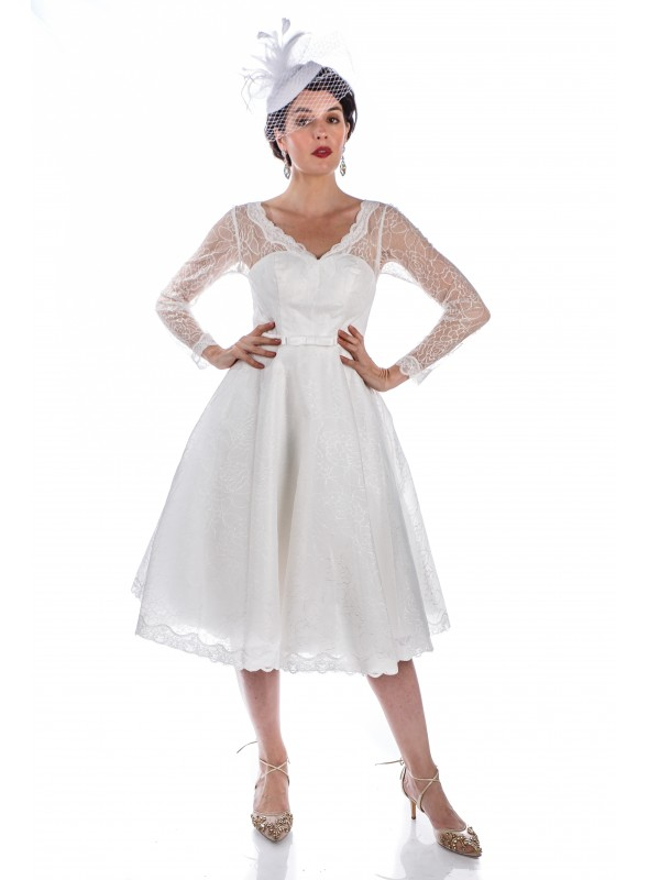 1950s Style Madeline Wedding Dress in White