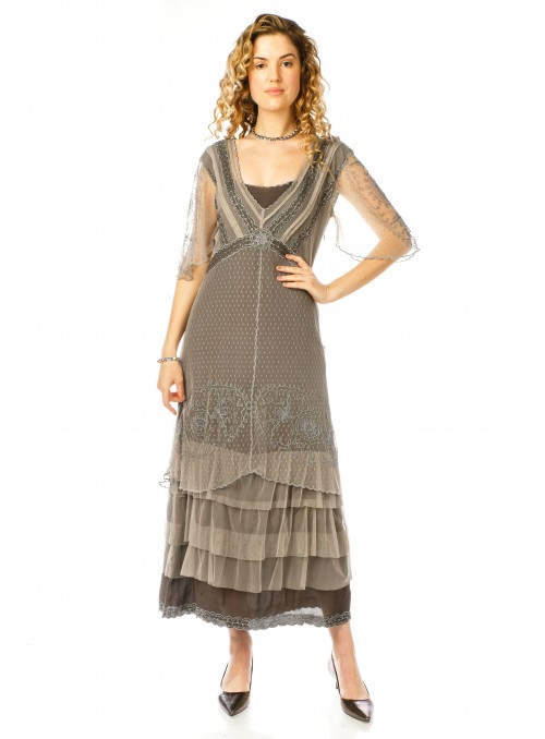 Sylvia 1920s Titanic Style Dress in Slate