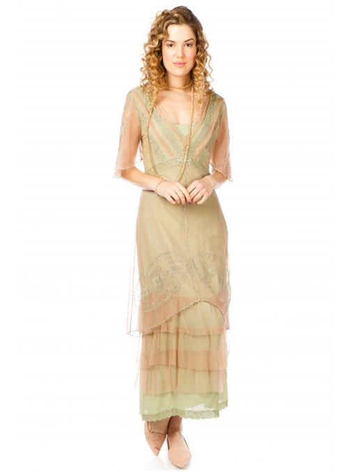 Sylvia 1920s Titanic Style Dress in Sage