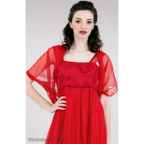Rouched Tulle Shrug in Red by Nataya